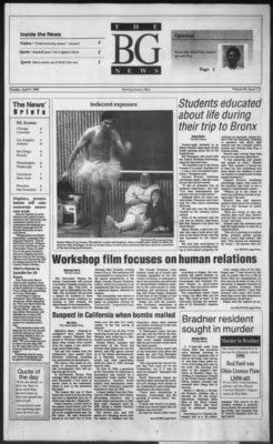 """""""The BG News April 9, 1996"""" by Bowling Green State University"""