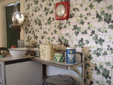 1940s kitchen with ivy wallpaper   I know I've seen that